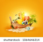 beautiful thai boat with... | Shutterstock . vector #1064646314