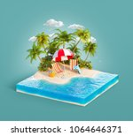 deck chairs under the beach... | Shutterstock . vector #1064646371