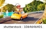 cute little retro car with... | Shutterstock . vector #1064646401