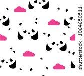 seamless pattern with pandas ... | Shutterstock .eps vector #1064650511