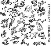 seamless texture elephants... | Shutterstock .eps vector #1064661215