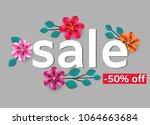 flowers. sale. discounts.... | Shutterstock .eps vector #1064663684