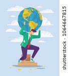businessman is holding earth on ... | Shutterstock .eps vector #1064667815