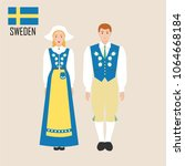 sweden woman and man in... | Shutterstock .eps vector #1064668184