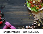 fresh healthy salad with... | Shutterstock . vector #1064669327