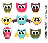 a set of cute owls | Shutterstock .eps vector #106467431