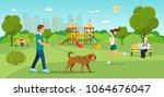 Stock vector man is walking with a dog grandfather sitting on the bench and reading newspaper young woman 1064676047
