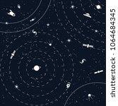 dark space background vector... | Shutterstock .eps vector #1064684345