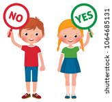 girl and boy showing signs of... | Shutterstock .eps vector #1064685131