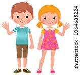boy and girl in full length... | Shutterstock .eps vector #1064685224