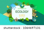 design template happy earth day ... | Shutterstock .eps vector #1064697131