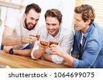 cheerful friends having fun... | Shutterstock . vector #1064699075