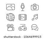 doodle multimedia icons. hand... | Shutterstock .eps vector #1064699915