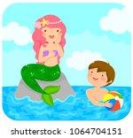 mermaid sitting on a rock in... | Shutterstock .eps vector #1064704151