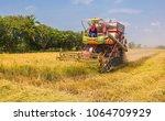 combine harvesters is working...   Shutterstock . vector #1064709929