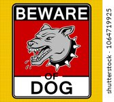 beware of angry dog plate pop... | Shutterstock . vector #1064719925