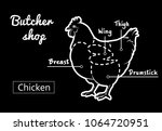 cut of meat set. poster butcher ... | Shutterstock .eps vector #1064720951