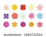 set of vector flower icons...   Shutterstock .eps vector #1064722514