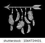 monochrome white feathers arrow ... | Shutterstock .eps vector #1064724431