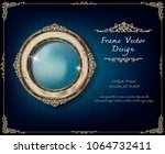 beautiful wood oval frame... | Shutterstock .eps vector #1064732411