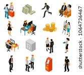 bank people isometric icons set ... | Shutterstock .eps vector #1064736467