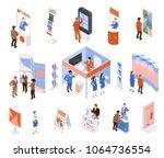 isometric expo trade exhibition ... | Shutterstock .eps vector #1064736554