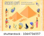 isometric poster with various... | Shutterstock .eps vector #1064736557