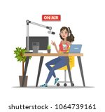radio dj on air. woman sitting... | Shutterstock .eps vector #1064739161