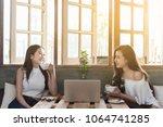 two teenage women meet in... | Shutterstock . vector #1064741285