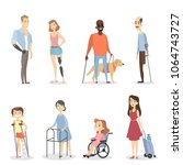 disabled people set with leg or ... | Shutterstock .eps vector #1064743727