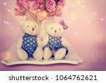 valentines day. two toy bears | Shutterstock . vector #1064762621