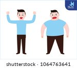 thin and fat. young man full... | Shutterstock .eps vector #1064763641