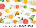 fruit pattern. colorful fresh... | Shutterstock . vector #1064765501