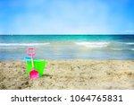 plastic children toys on the... | Shutterstock . vector #1064765831