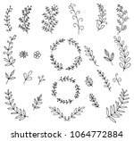 set of hand drawn floral... | Shutterstock .eps vector #1064772884