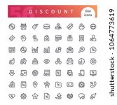 set of 56 discount line icons... | Shutterstock .eps vector #1064773619