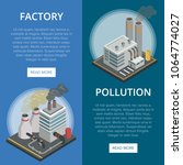 pollution industry isometric... | Shutterstock .eps vector #1064774027
