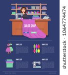 tailor shop banner with young... | Shutterstock .eps vector #1064774474