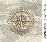 grunge background with compass... | Shutterstock .eps vector #1064776847