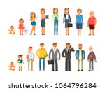 man and woman characters in... | Shutterstock . vector #1064796284
