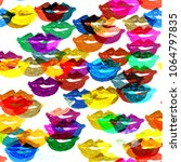 colorful pop art fashion lips... | Shutterstock . vector #1064797835