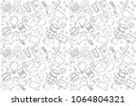 vector e learning pattern. e... | Shutterstock .eps vector #1064804321