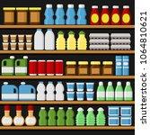 supermarket. shelfs shelves... | Shutterstock .eps vector #1064810621