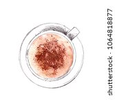 hand drawn cup of cappuccino... | Shutterstock . vector #1064818877