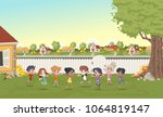 cartoon kids playing in suburb... | Shutterstock .eps vector #1064819147