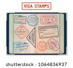 passport with stamps for united ... | Shutterstock .eps vector #1064836937