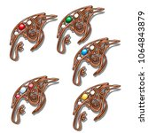 set of decorative brooches made ... | Shutterstock .eps vector #1064843879