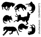 vector set of cat and dog lying ... | Shutterstock .eps vector #1064844371