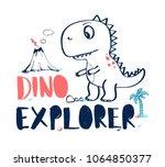 hand drawing explorer dinosaur...   Shutterstock .eps vector #1064850377