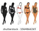 vector icons of bikini woman in ... | Shutterstock .eps vector #1064866265